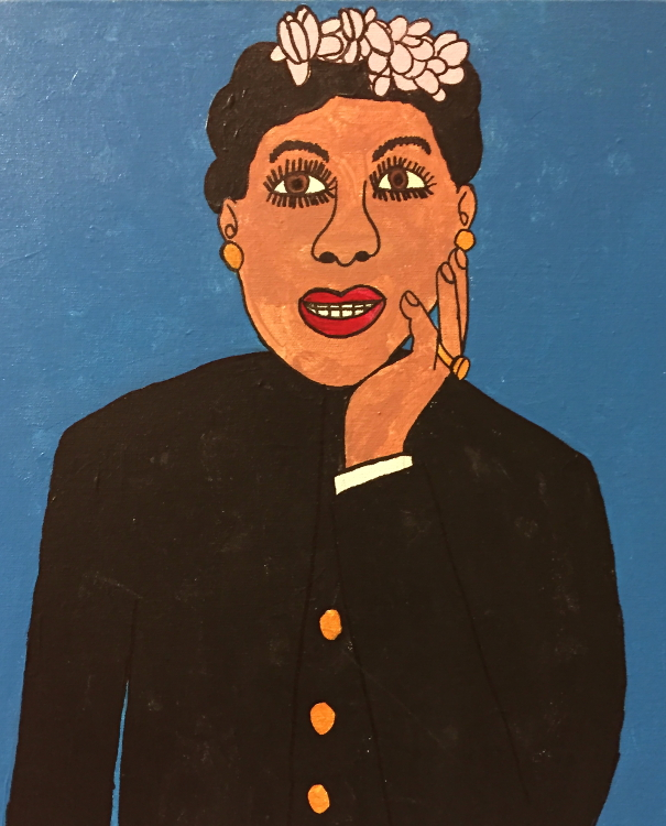 Chaz B. Billie Holliday 20x16 mix med on canvas